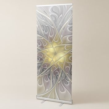 Flourish With Gold Modern Abstract Fractal Flower Retractable Banner