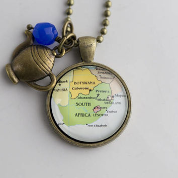 Map of South Africa - Map Pendant Necklace Custom Jewelry Travel Necklace Personalized Gift Missions Adoption Africa Cape Town Map Necklace