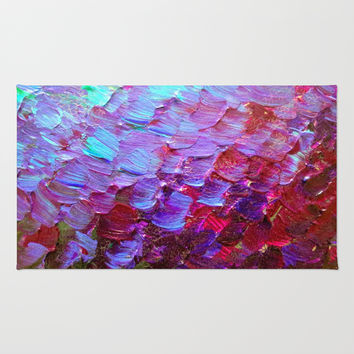 MERMAID SCALES - Colorful Ombre Abstract Acrylic Impasto Painting Violet Purple Plum Ocean Waves Art Rug by EbiEmporium