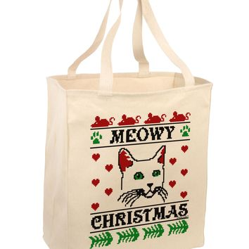 Meowy Christmas Cat Knit Look Large Grocery Tote Bag by TooLoud