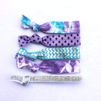 fairy dust set•pretty hair ties (silver lavender and mint chevron polka dots tie dye) french ties