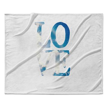 "Robin Dickinson ""LOVE"" White Cloud Fleece Throw Blanket"