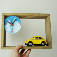Wooden clock with Fiat car miniature, wooden frame for desk or wall with clock dial and collectible, toy Fiat car in yellow
