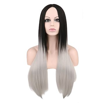 Long Straight Black To Grey Ombre Wig