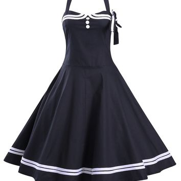 Casual Vintage Halter Bowknot Striped Skater Dress