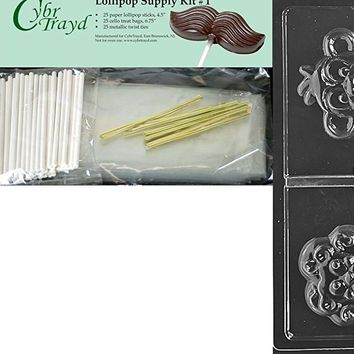 "Cybrtrayd ""Animal Faces Lolly Monkey Lion"" Chocolate Mold with Chocolatier's Bundle, Includes 25 Sticks, 25 Cello Bags and 25 Gold Metallic Twist Ties"