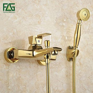 Wall Mounted Antique Brass Gold Plated Bathtub Faucet with Shower Handle
