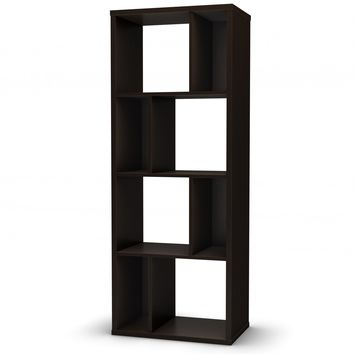 Modern Narrow Bookcase with 4 Shelves in Chocolate Finish