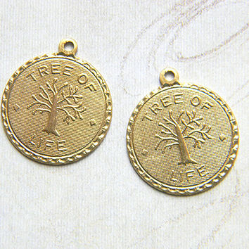 Raw Brass Tree Of Life Charm, Bracelet Charm, Drop Stamping 19m x 22mm - 4 pcs.