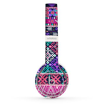 The Pink & Teal Modern Colored Aztec Pattern Skin Set for the Beats by Dre Solo 2 Wireless Headphones