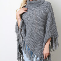 Mixed Cable Knit Turtleneck Tassel Hem Poncho