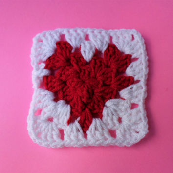 Valentine's Coaster, Crochet Heart, Coaster Set, Valentine's Gift, Red Coasters