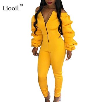 Liooil Sexy Black Bodycon Jumpsuits For Women Winter Off Shoulder Long Sleeve Zip Up Party Rompers Womens Jumpsuit
