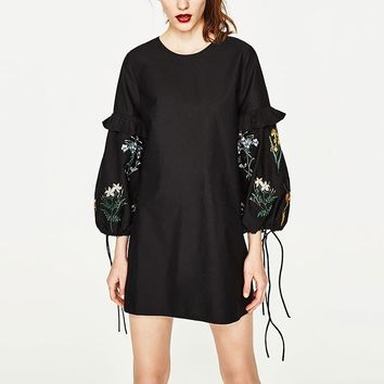 Cotton Summer Long Sleeve Black Lights One Piece Dress [266883399709]