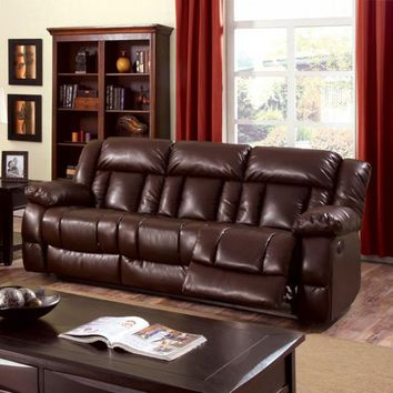 Transitional Style  Brown Recliner Sofa
