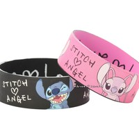 """Licensed cool NEW Disney Lilo & Stitch Heart LOVE ANGEL Rubber Bracelet 2 Pack 1"""" Wristband"""