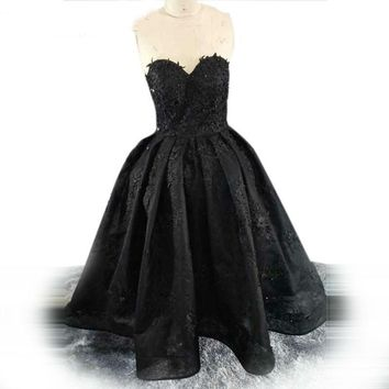 Strapless Evening Dresses Black Party Ball Gown Lace