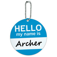 Archer Hello My Name Is Round ID Card Luggage Tag