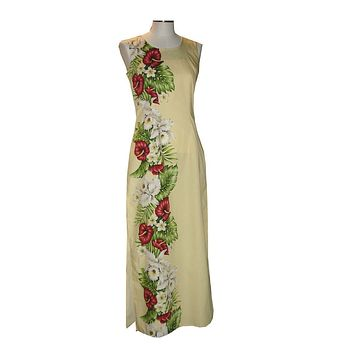 KY's Yellow 100% Cotton Long Tank Aloha Dress with Red Anthurium and White Hibiscus