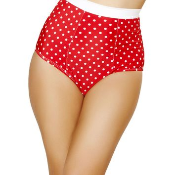 Pinup Style High-Waisted Banded Shorts - Red/White Polkadot