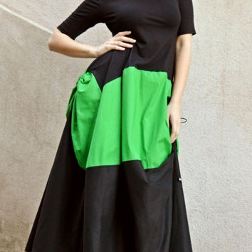 GREEN SALE 35% OFF Extravagant Maxi Dress Tdk162, Black and Green Plus Size Dress, Long Summer Dress with Short Sleeves