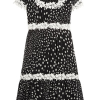 Giambattista Valli - Lace-trimmed polka-dot silk-georgette dress