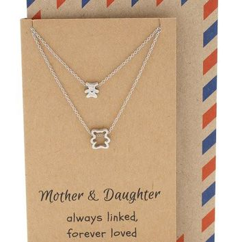 Arianna Mother Daughter Necklace with Matching Bear Pendant