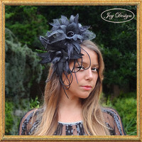 Handmade Black Fascinator on Comb with 2 Large Orchids and Black Tulle An Exquisite Formal Headpiece