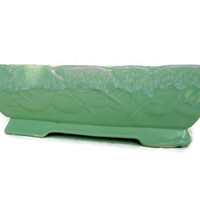 Mid Century Modern California Pottery Ceramic Planter, Rectangular, Mint Green,