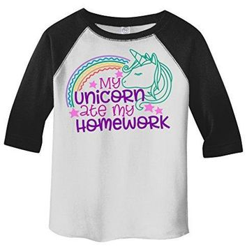 Shirts By Sarah Girl's Funny Unicorn Ate Homework 3/4 Sleeve Raglan T-Shirt