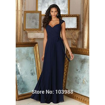 Tulle Appliqyes Long lace dark blue chiffon Bridesmaid Dresses 2016 V-neck  Wedding Party Dress Free shipping