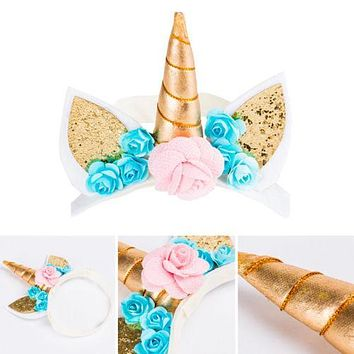 Magical Unicorn Horn Head Party Kids Hair Headband Fancy Dress Cosplay Birthday Party Headwear