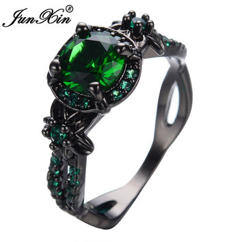 JUNXIN Size 6/7/8/9/10 Green Rings Antique Jewelry Black Gold Filled Cubic Zircon Rings Wedding Bands For Couples Anel Anies