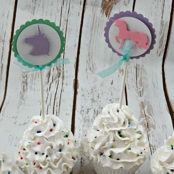 Unicorn Party Cupcake Toppers (set of 12)