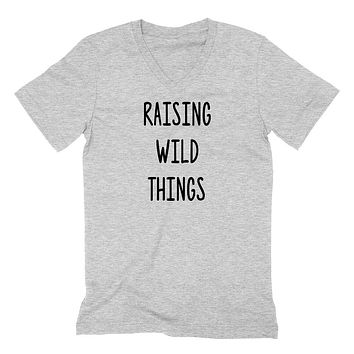 Raising wild things V Neck T Shirt