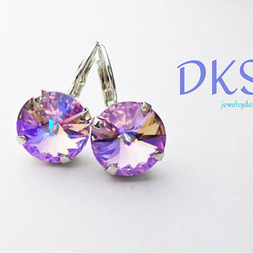 Violet Shimmer, Swarovski 12mm Earrings, Drops, Solitaire, Rhodium, Round, Bridal, Lever Backs, DKSJewelrydesigns, FREE SHIPPING