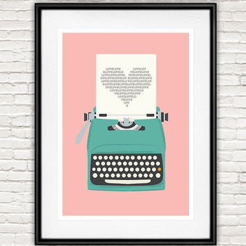 Love poster, Pink wall art, Vintage typewriter, heart print, typography, typewriter poster, Love wall print, retro poster, office artwork