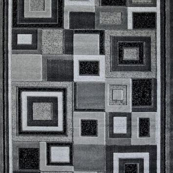 5058 Gray Square Contemporary Area Rugs