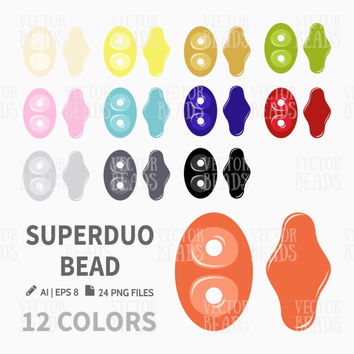 Superduo Glass Bead Clip Art. Bead Vector Graphic, Vector illustration of beads, Bead download for commercial use