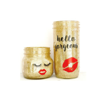 Glitter My World Mason Jar Home Decor Set