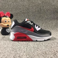 Nike Air Max 90 Child Shoes Black White Grey Red Toddler Kid Shoes - Best Deal Online