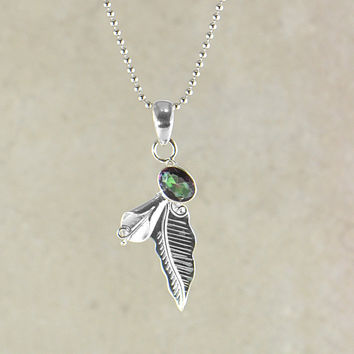 Bohemian Feather Pendant Necklace in Sterling Silver