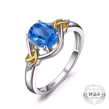 Love Heart Knot Natural Blue Topaz Ring 925 Sterling Silver