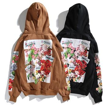 OFF WHITE Trending Women Men Stylish Flower Print Long Sleeve Hoodie Sweater Pullover Top Sweatshirt