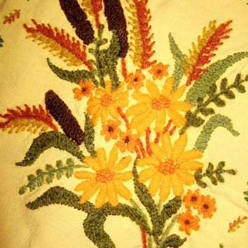 Embroidered Square Pillow Cover Sham vintage 70s Handmade Mustard Yellow Brown Rust Olive Green Fall Autumn