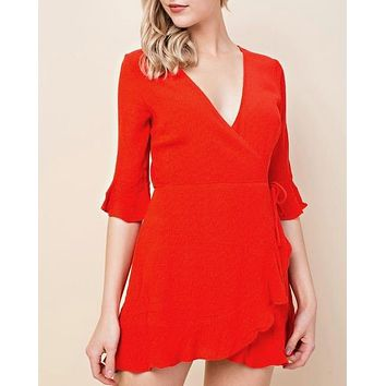 honey belle - the only one wrap mini dress - red