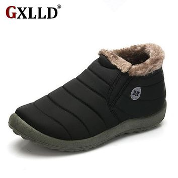 New Fashion Men Winter Shoes Solid Color Snow Boots Cotton Inside Antiskid Bottom Keep Warm Waterproof Ski Boots,Size 45