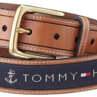 Tommy Hilfiger Men's Ribbon Inlay Belt,Navy,38