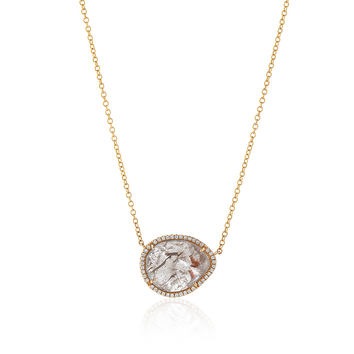 One of a Kind Diamond Slice Necklace in Yellow Gold