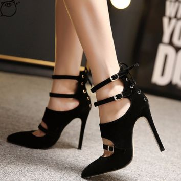 Edgy Close Toe Black Ankle Strap High Heels